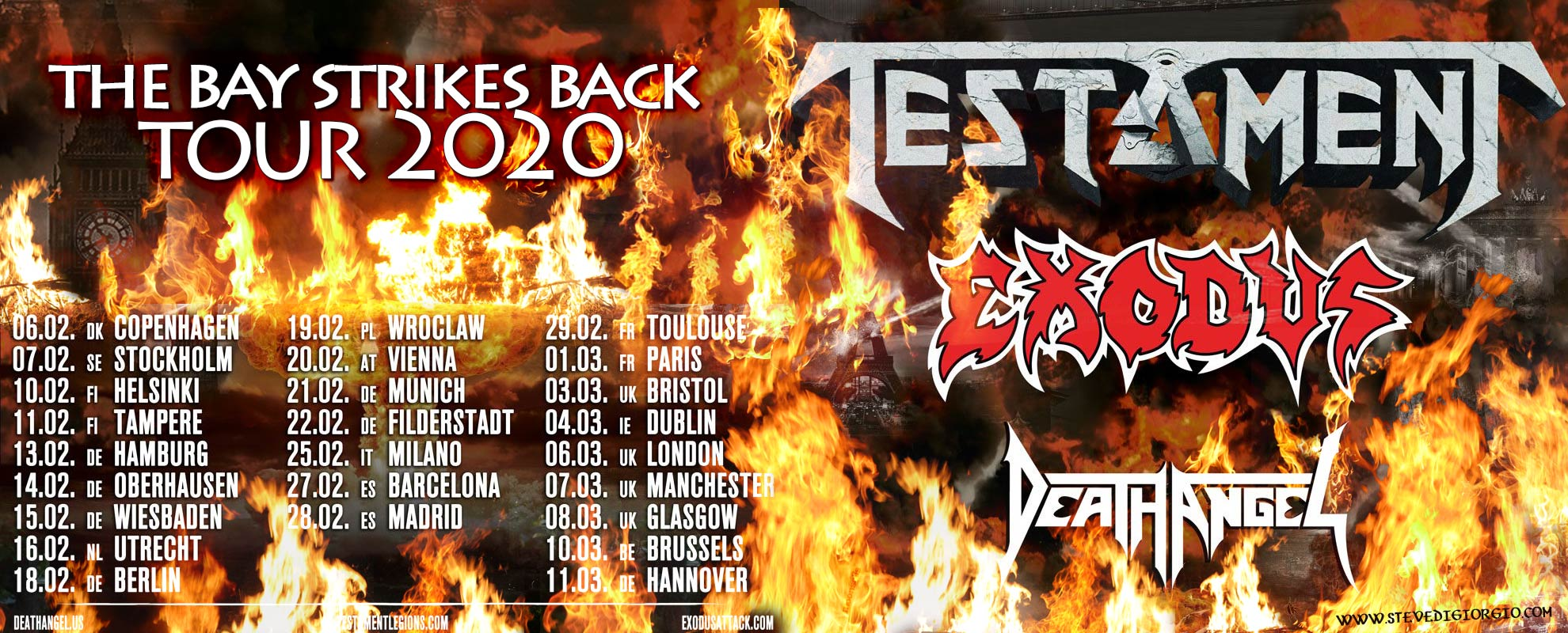 The Bay Strikes Back Tour 2020 - Testament, Exodus and Death Angel